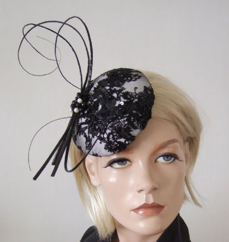 "Black White Beaded Lace and Quills Button Cocktail Hat Headpiece Fascinator ""Elsie"""